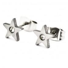 Fülbevaló sebészeti acélból - csillag és cirkónia