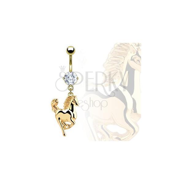 Köldök piercing - aranyló lovacska