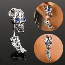Fül piercing - kalóz koponya, kék cirkónia szemek