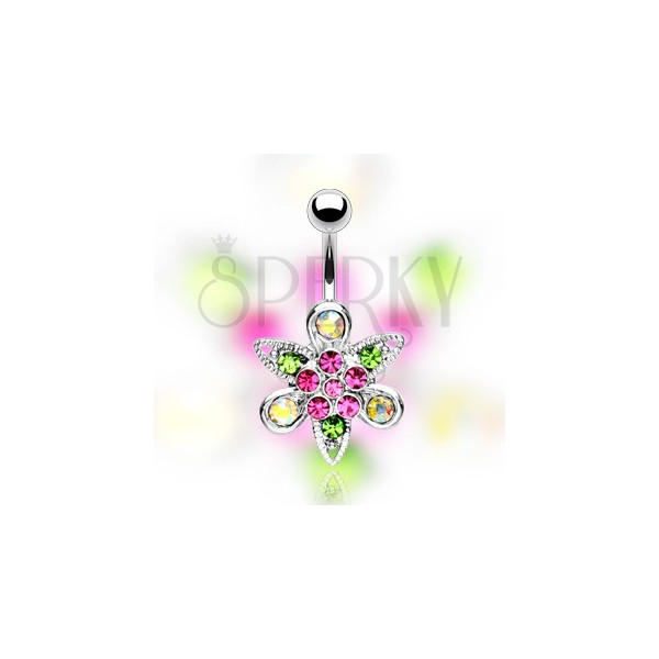 Köldök piercing - rózsaszín virág, levélkék