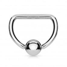 316L acél piercing - D alakú, ezüst színű golyóval a közepén