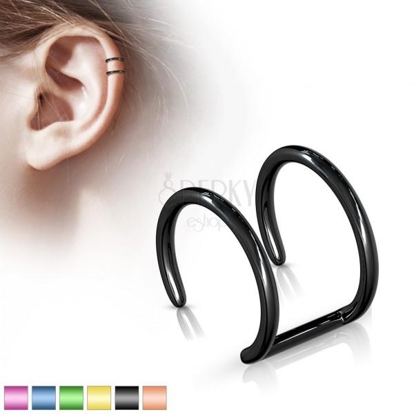 Sebészeti acél hamis fül piercing - anodizált kettős karika