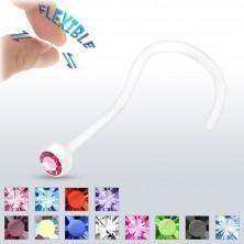 BioFlex orr piercing - tiszta, cirkóniával