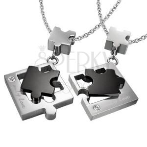 Medál pároknak acélból - puzzle, fekete és ezüst