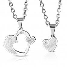 Acél medál pároknak - két szív és virágok, cirkónia