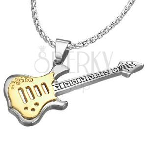 Orvosi fém medál, gitár, arany - ezüst