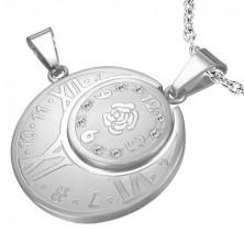 Kétrészes acél medál - óra római számokkal, rózsa