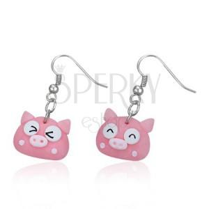 Rózsaszín kismalac fülbevaló - fimo