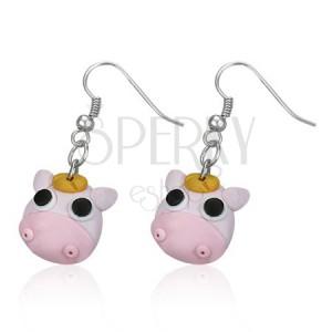 FIMO fülbevaló - rózsaszín kismalac, fekete szemű