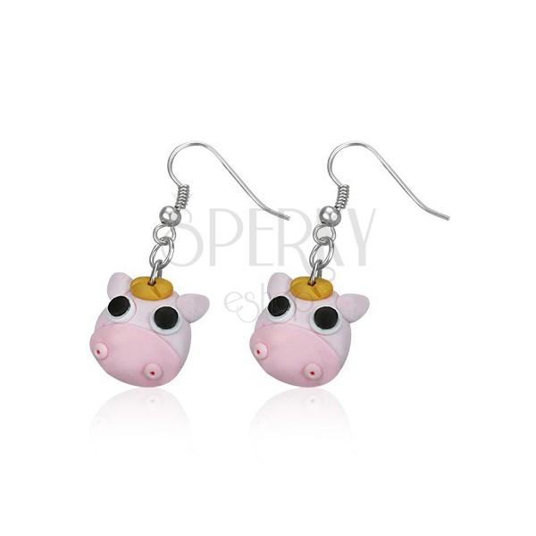 FIMO fülbevaló - rózsaszín boci, fekete szemű