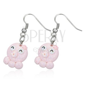 Fimo fülbevaló - rózsaszín kismalac, három lábacska