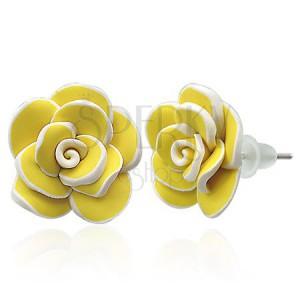 Fimo fülbevaló - nagy sárga rózsa