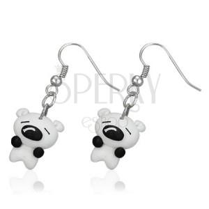 Fimo fülbevaló - kicsi fehér kutyus