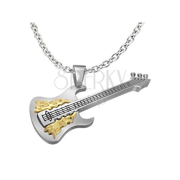 Ezüst - arany acél medál, gitár