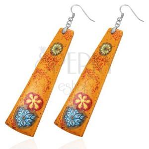Narancsszínű fimo fülbevaló - téglalap, virágok
