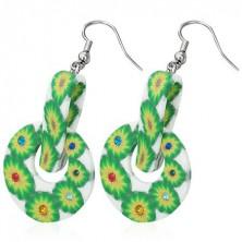 FIMO fülbevaló - kör, csipesz, zöld virágok