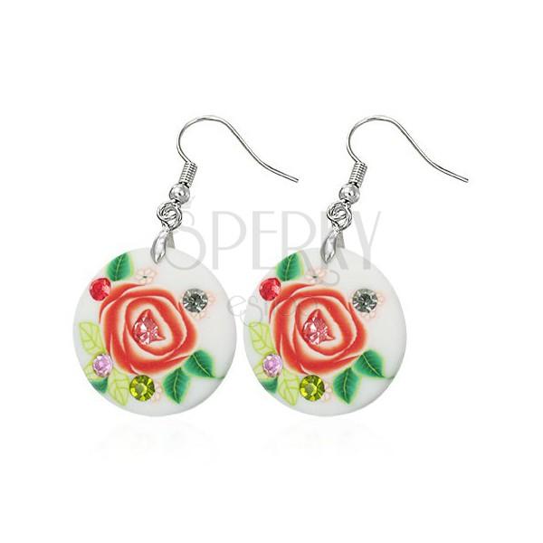 FIMO fülbevalók - rózsa, cirkóniák