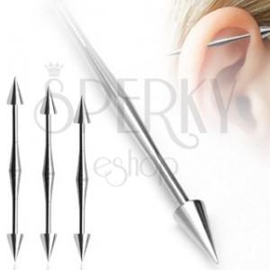 Fül piercing - vastag középső rész, tüske végződés