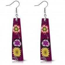 Fimo fülbevaló - lila téglalapok, virágok, csillámpor