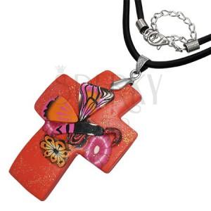 Fimo nyakék - piros, csillámpor, kereszt és pillangó