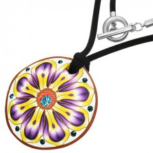 FIMO nyakék - kör, lilás - sárga virág, cirkóniák