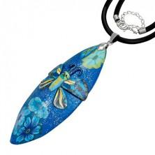 Égetett gyurma nyakék - kék, csillámpor, pillangó