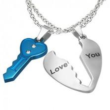 Kétrészes medál szerelmeseknek - kulcs és szív