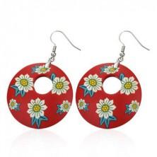Fimo fülbevaló - piros kör, fehér virágok