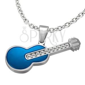 Nemesacél gitár medál - cirkóniák