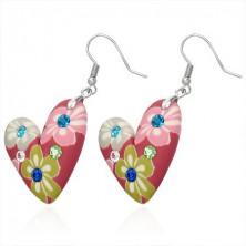 Fimo fülbevaló - virágmintás piros szív