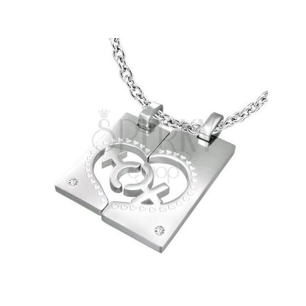 Acél medálok - téglalap, szív, nő, férfi, cirkóniák