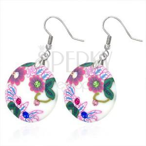 Fimo fülbevalók - körök réti virágokkal