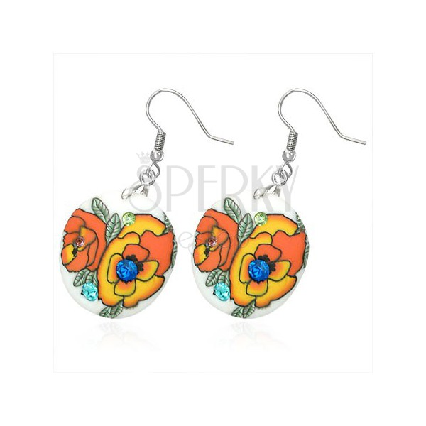 Kör fülbevaló - fimo, narancsszínű rózsák, kövek