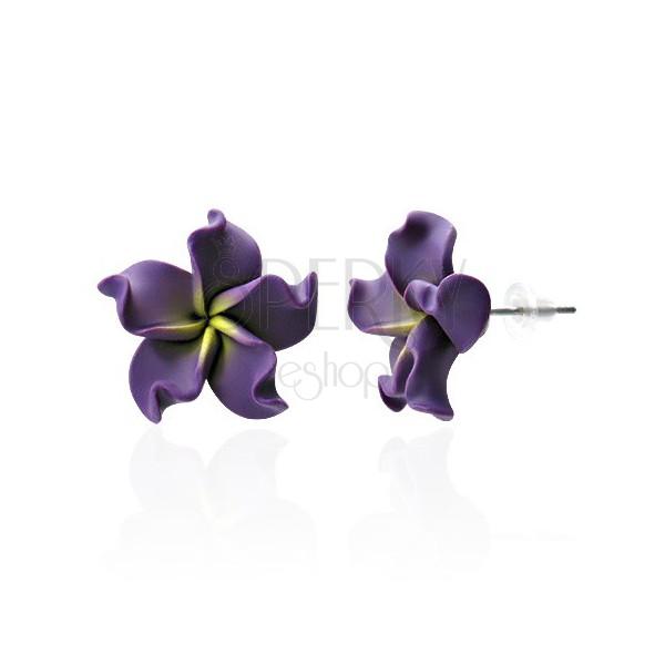 FIMO fülbevaló - lila virág