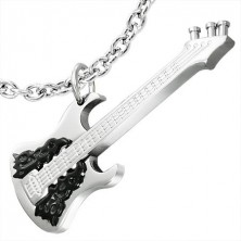 Nemesacél medál - ezüst-fekete gitár