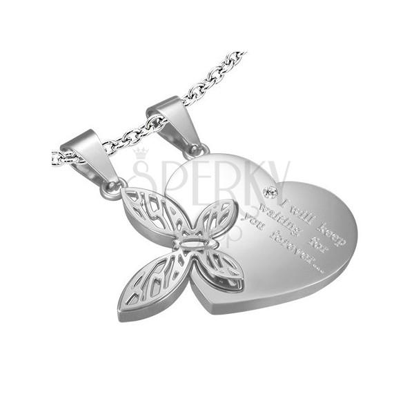 Medál szerelmes pároknak - szív, pillangó