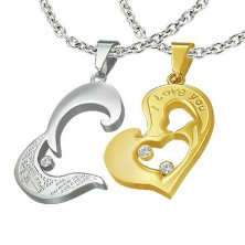 Kétrészes acél medál - arany szív, I love you, kereszt