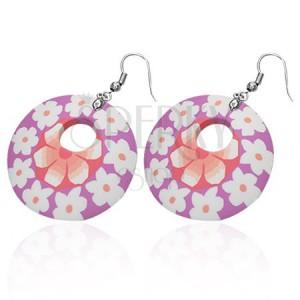 Kerek FIMO fülbevaló - rózsaszín, fehér virágok