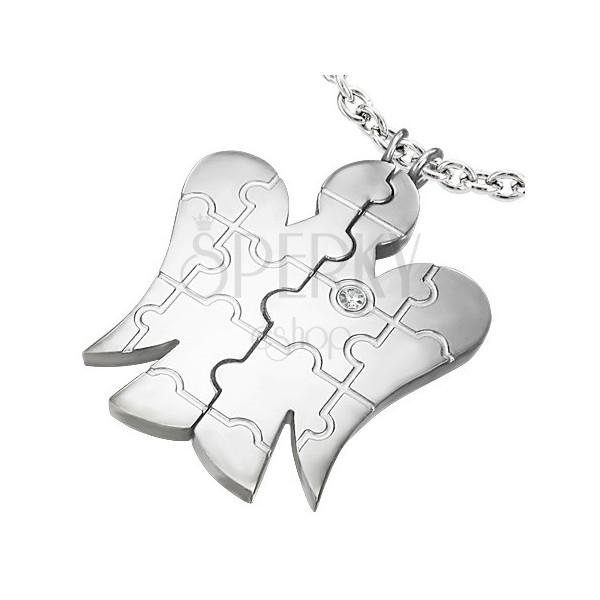 Kétszemélyes acél medál - angyal, cirkónia, puzzle