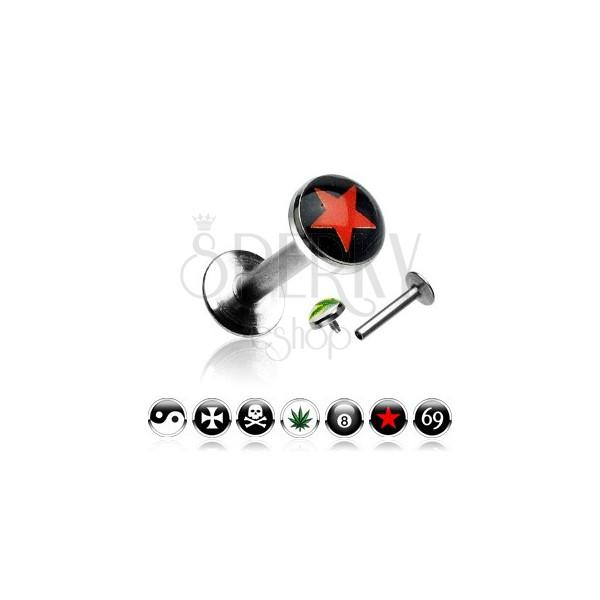 Labret áll piercing -  különféle logóval díszítve