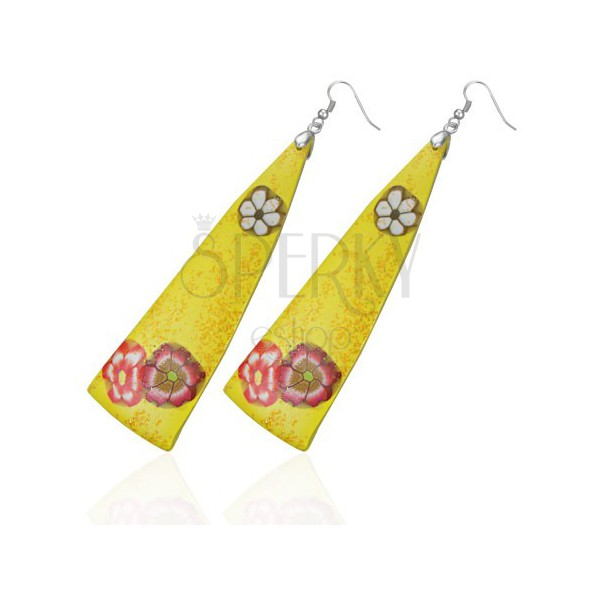 FIMO fülbevaló - sárga háromszögek, virágok