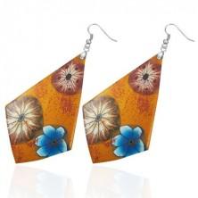 FIMO fülbevaló - narancsszínű négyszög, virágok