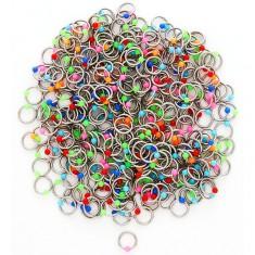 Acél piercing színes golyókkal