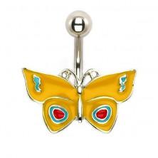 Acélból készült köldökpiercing - sárga pillangó