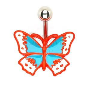 Retro pillangó köldökpiercing