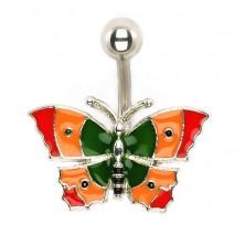 Köldök piercing - háromszínű pillangó