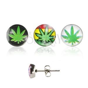 Kerek acél fülbevaló - cannabis logó