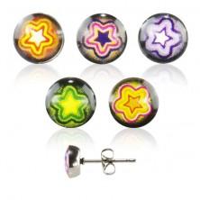 Bedugós acél fülbevaló - színes csillag