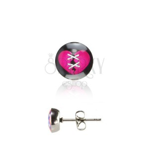 Fülbevaló nemesacélból - pink szívecske