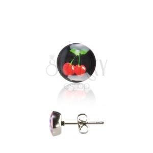 Nemesacél fülbevaló - piros cseresznye